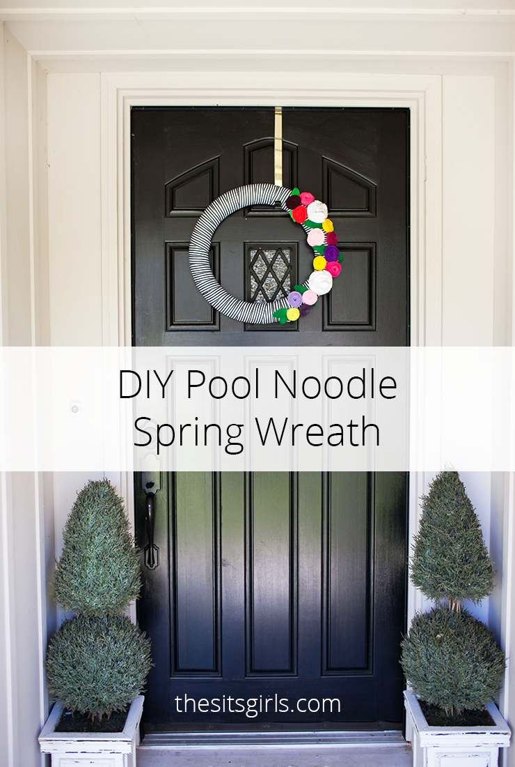 Use a pool noodle for the base of this cute spring wreath. This inexpensive project is great for hanging on your front door. Video tutorial included.