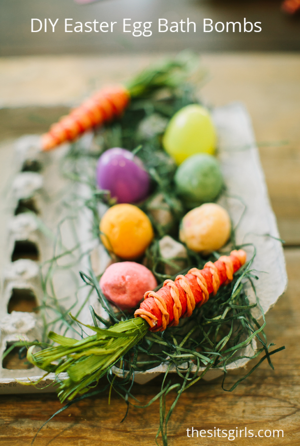 Easy bath bombs DIY tutorial. Make super cute Easter Egg bath bombs with a surprise inside.