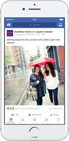 Example of post with Facebook Branded Content Tool