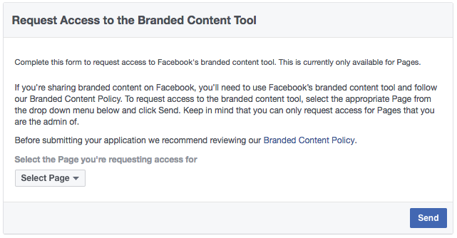 Facebook Branded Content Application