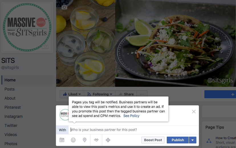The Facebook branded content tool allows you to tag multiple sponsors for your post.