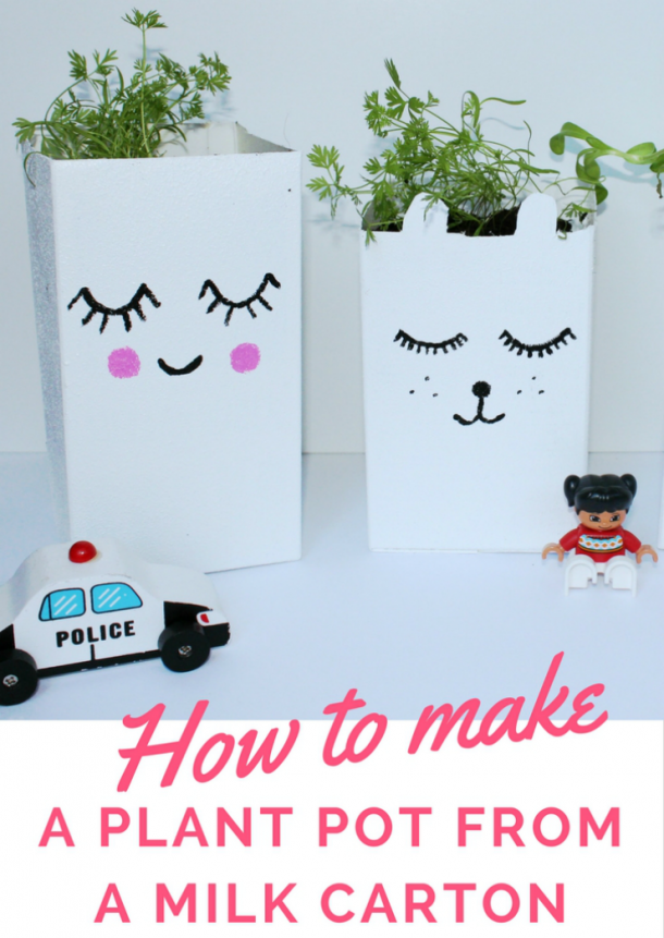 Recycle milk cartons into super cute milk carton planters. Kids will love decorating these planters and learning about gardening.