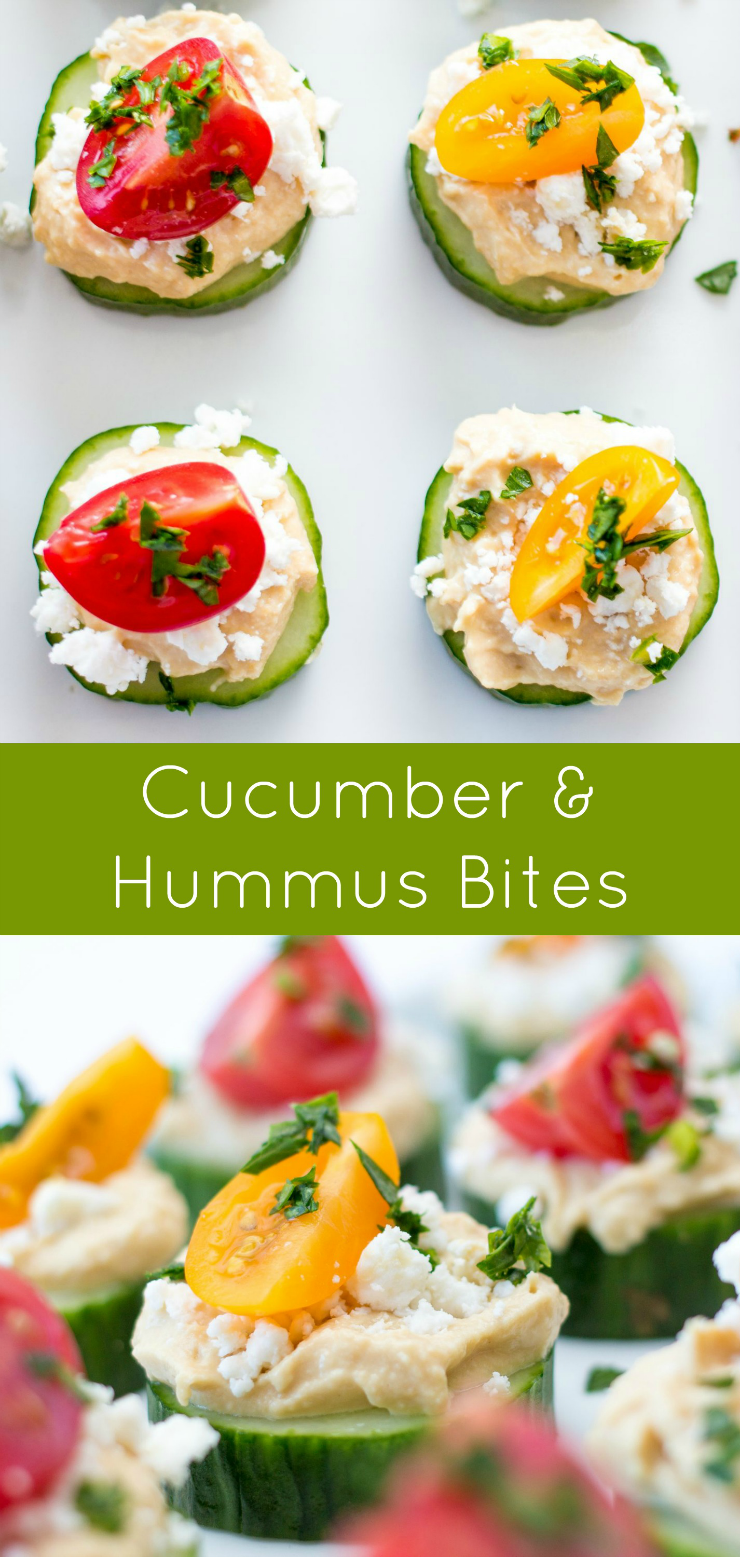 Cucumber and Hummus bites. This recipe makes a great appetizer or lunch, and is quick and easy to make.