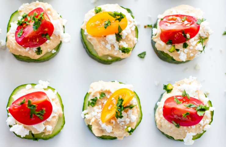 Cucumber and Hummus bites make a great appetizer.