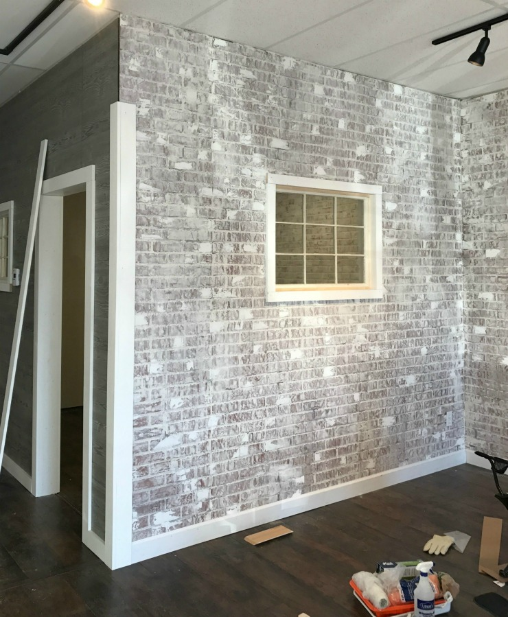 Add Texture To Walls : How to create a faux brick wall with paneling exposed