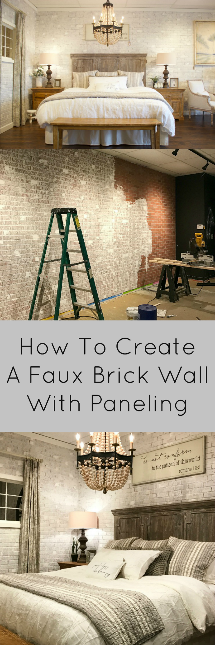 Get the look of exposed brick in your home with this easy DIY project to turn paneling into a beautiful, faux brick wall! Includes video tutorial.