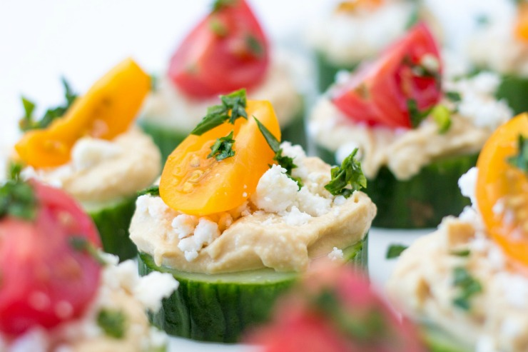 Feta cheese make these cucumber and hummus bites extra delicious!