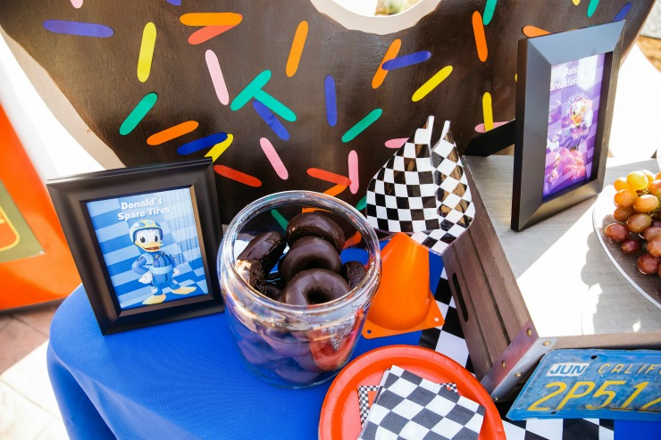 "Chocolate doughnuts can be called ""spare tires"" for a fun racing party themed food!"