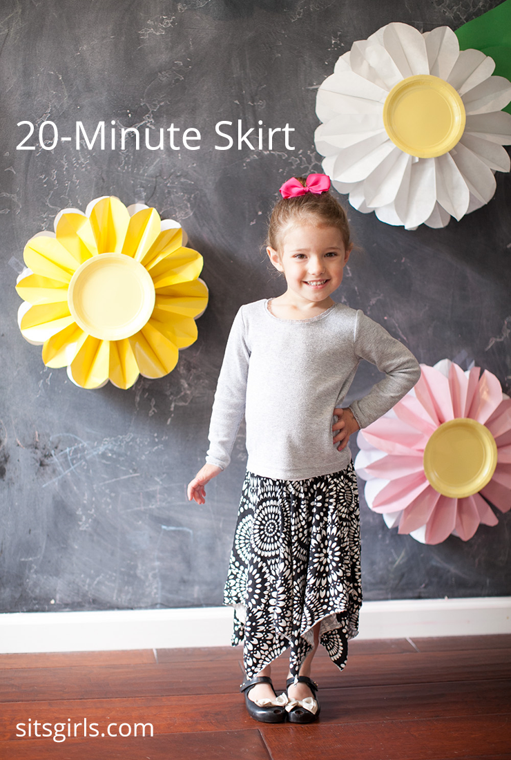 How to sew a skirt in 20 minutes! Even with the uneven hem and two layers, this skirt only takes 20 minutes to make.