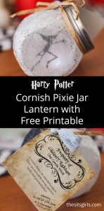 Harry Potter Cornish Pixie Jar Lantern, inspired by the pixies from the Wizarding World. Includes video tutorial and free printable.