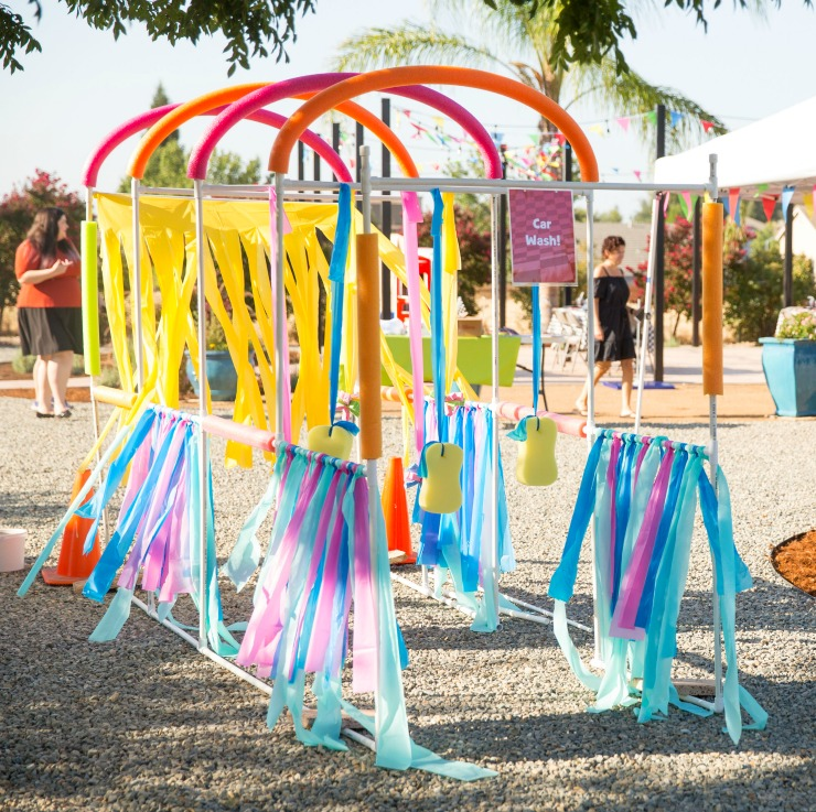 Summer fun is here with a kiddie car wash. This PVC Pipe car wash sprinkler is great for kids to run through or ride bikes and trikes.