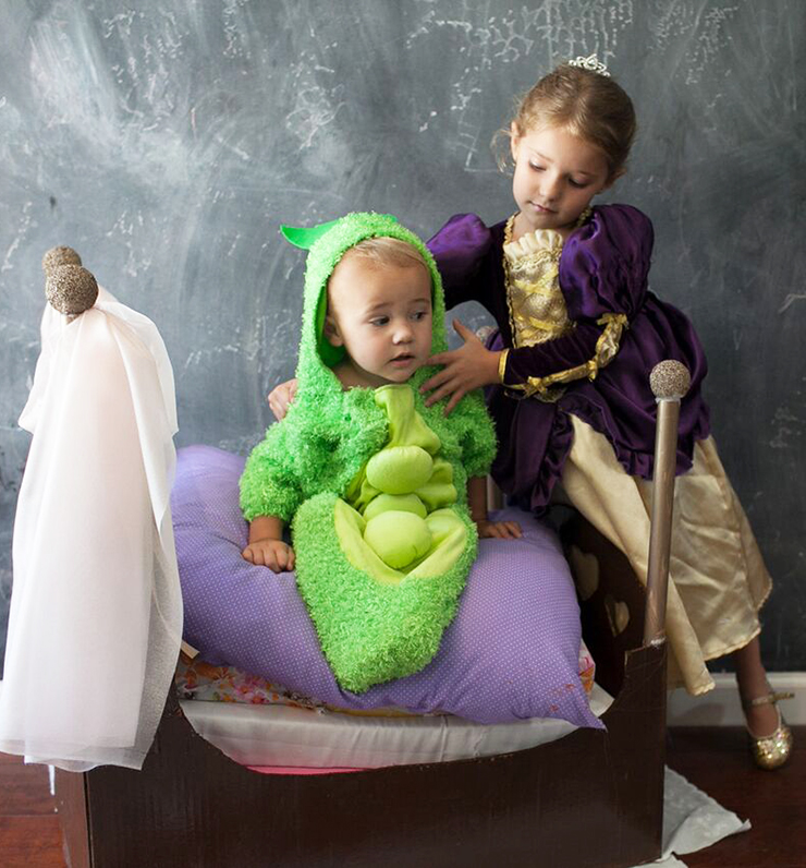 The princess and the pea are the perfect sibling costume for Halloween!