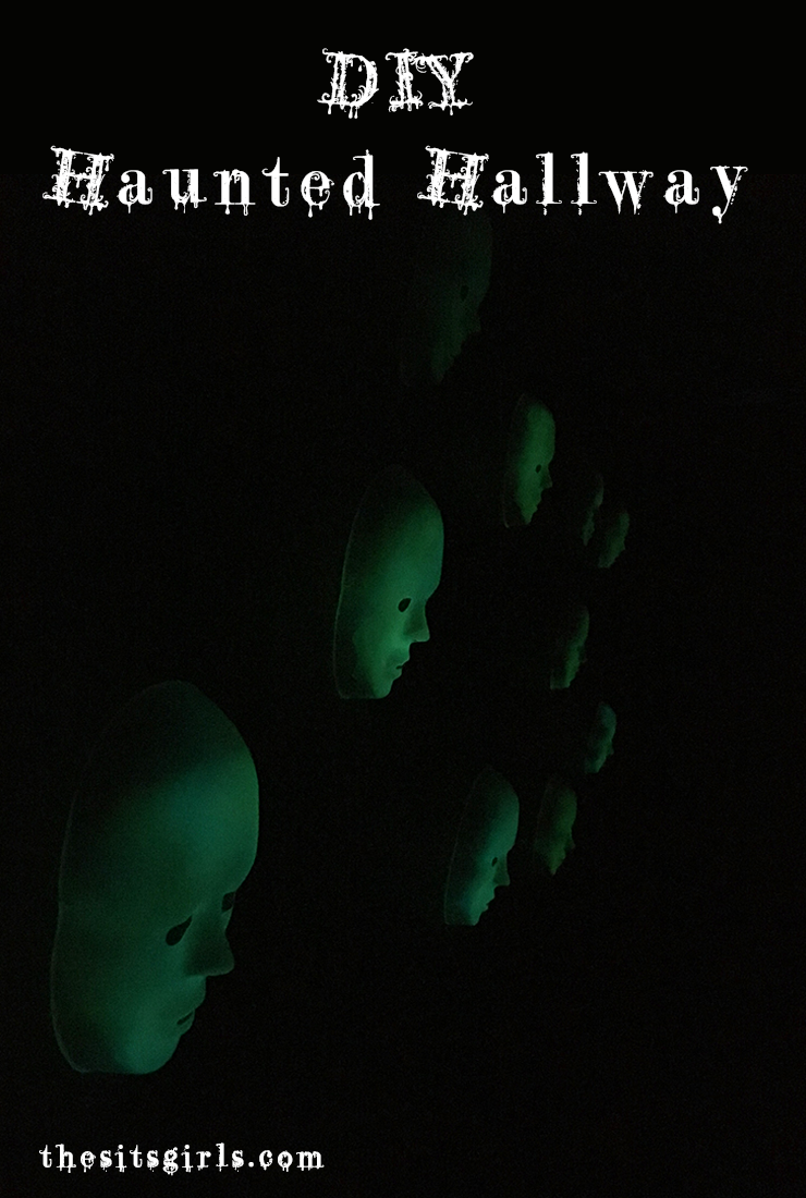 Make a haunted hallway for your Halloween haunted house with these spooky glowing masks.