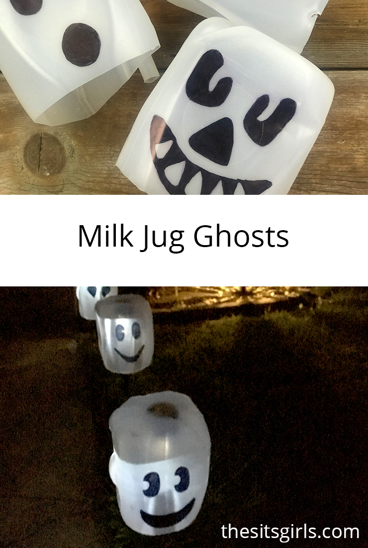 Milk jug ghosts are the easiest Halloween decoration DIY. You will only need a few simple supplies from the Dollar Store to make your front yard ghostly.
