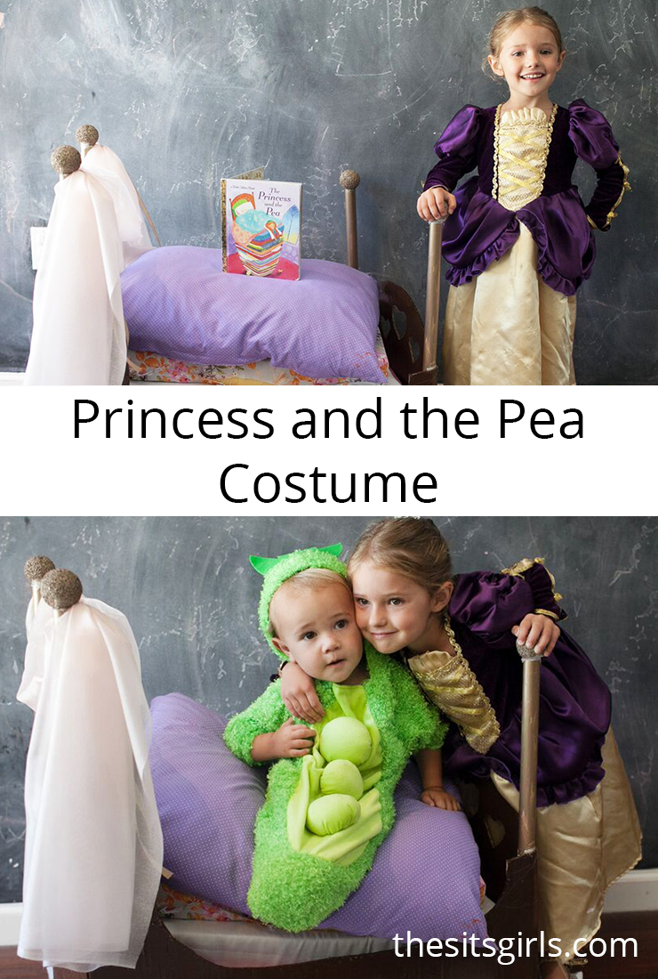Princess and the Pea costume with a tutorial for making a homemade Princess and the Pea bed to bring trick or treating. This is a super cute idea for a sibling costume.