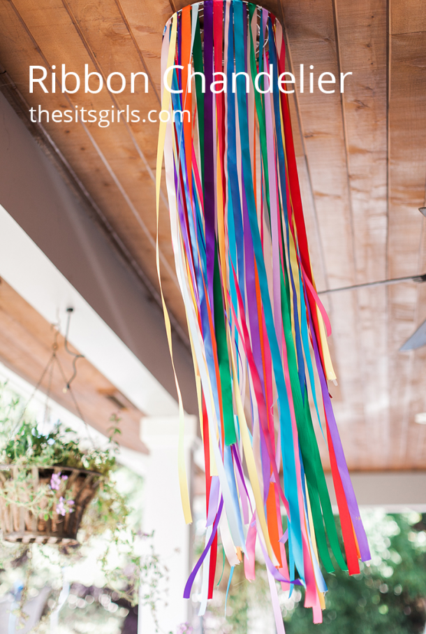 Ribbon chandeliers are super versatile and make great party decorations. Use any pattern or color of ribbons you like to make a dramatic statement piece.