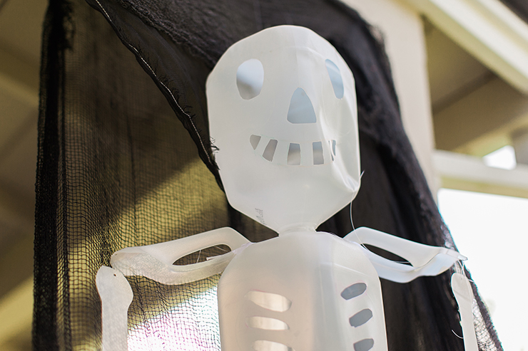 Use our handy template to make this cute milk jug skeleton.