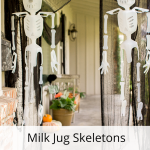 These skeletons are made out of milk jugs!