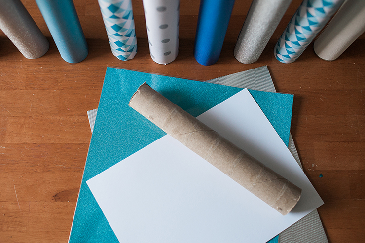 Paper and paper towel rolls combine to make this cute Hannukah craft.