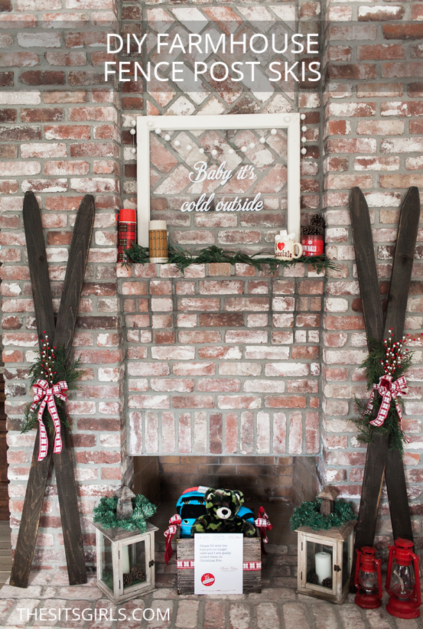 DIY Farmhouse Fence Post Skis are cost efficient, weather resistant, and SUPER easy to make. They are a great way to incorporate the modern farmhouse trend into your Christmas decor.