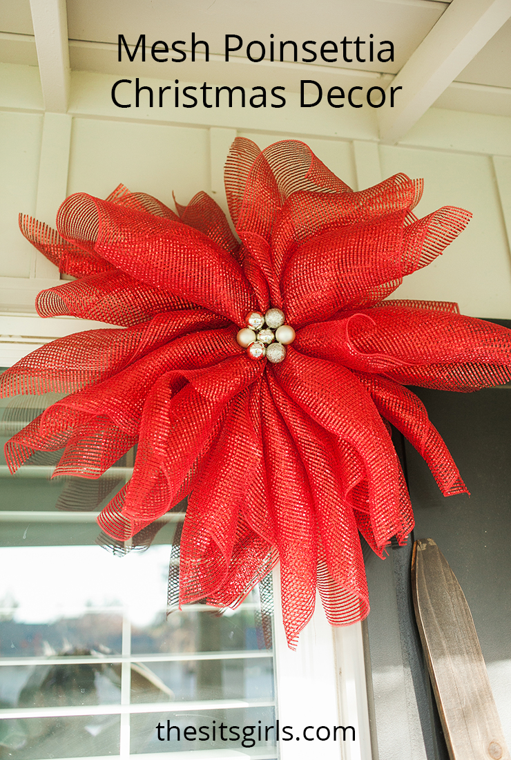DIY mesh poinsettias are great Christmas decor because you can hang them inside or outside and customize the colors to match your Christmas style.