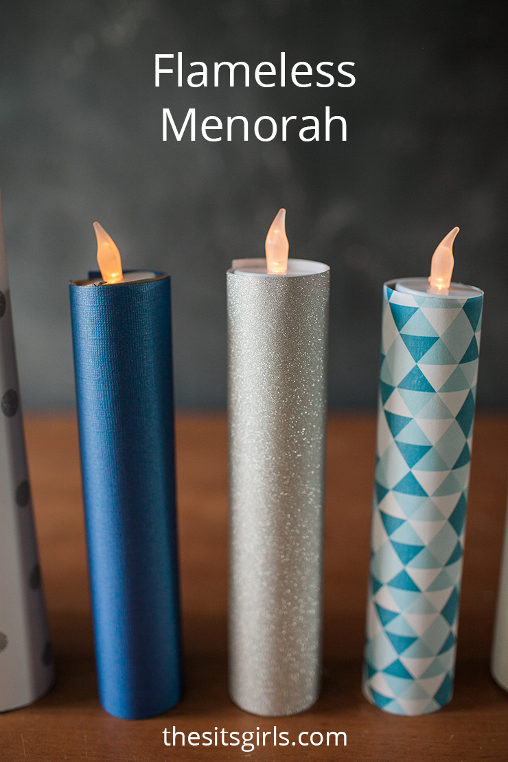 Looking for a kid friendly Hanukkah project? We have got you covered with these Flameless Menorah Candles. #Hanukkah #DIY