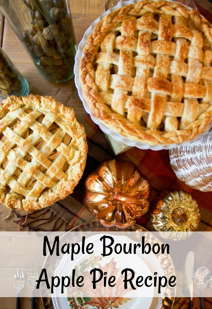Maple Bourbon Apple Pie Recipe | This recipe is perfect for fall. Brown sugar and maple syrup create a caramel sauce to coat the apples and bourbon makes the flavors pop. #PieRecipe #Recipe
