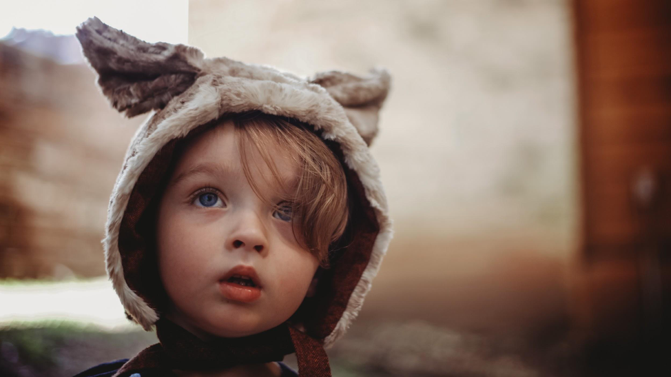 Boy in an animal hood