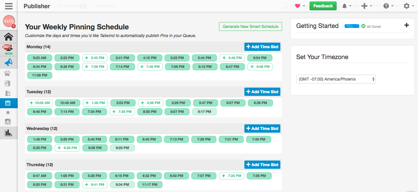 tailwind schedule screenshot
