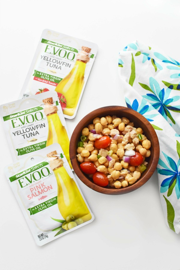 Starkist Selects EVOO pouches and chickpea salad