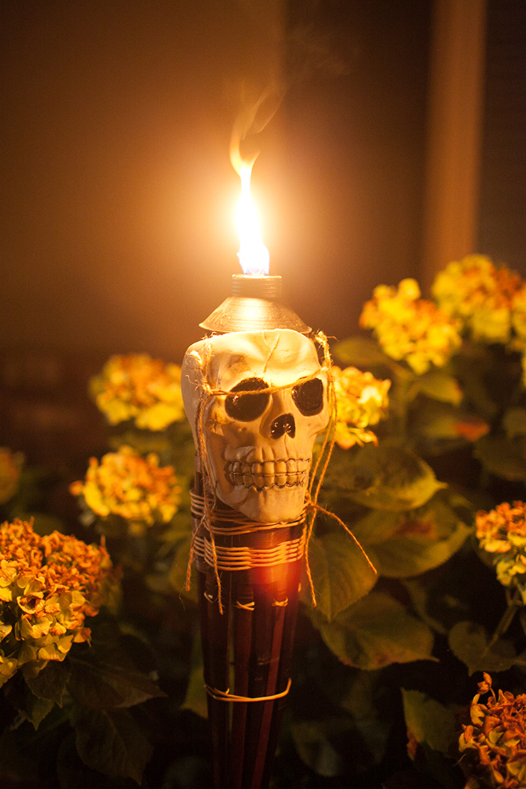 Flaming Skull Torches are the perfect way to line your walkway for Halloween.