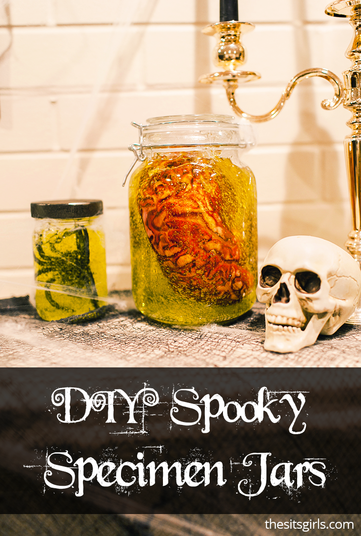 These Spooky Specimen Jars are the ultimate DIY Halloween Decorations. You can put them on your mantle or anywhere at home to set the mood for Halloween!