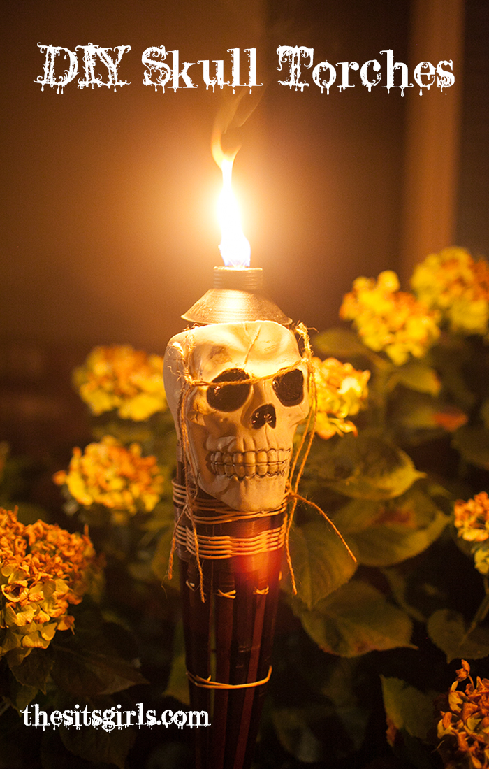 Flaming Skull Torches are the perfect way to line your walkway for Halloween. They are spooky and look spectacular at night. Spook it up this year as the cool house on Halloween!
