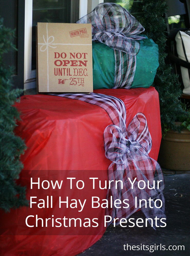 Hay bales make fabulous decorations for Fall, but always need to be thrown out come Christmas. This year you can make cute DIY Hay Bale Presents with them.