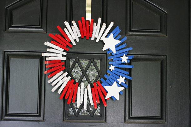Patriotic wreath hanging on front door