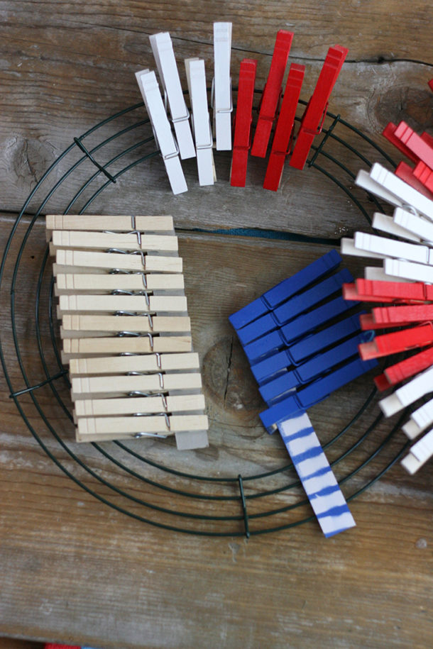 clothespins and wire wreath frame to make a patriotic wreath