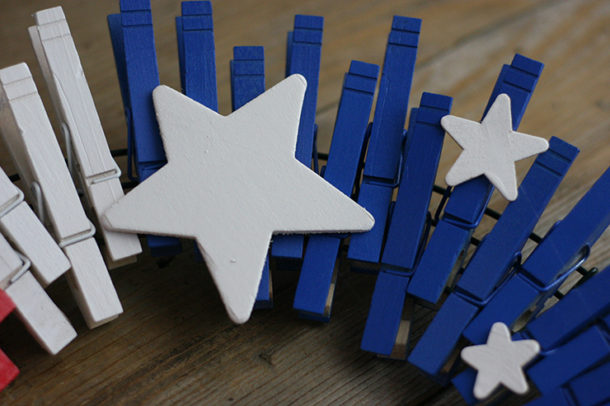 Wooden stars on clothespins