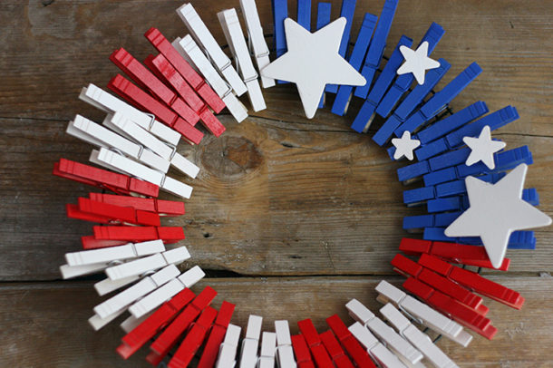 Finished Patriotic Clothespin Wreath