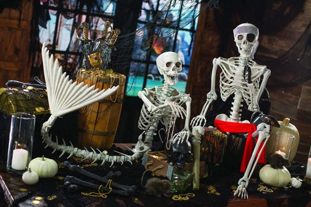 Halloween Decor With Mermaid Skeleton
