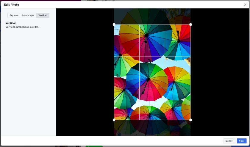 Screenshot: cropping an Instagram photo before scheduling in Facebook Creator Studio