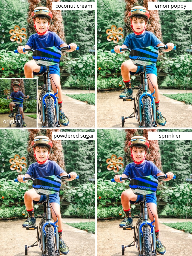 collage of photos showing the same picture of a boy on a bike that has been edited with presets