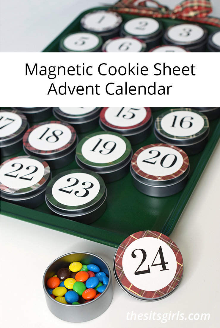 Magnetic Advent Calendar with Cookie Sheet and Metal Tins