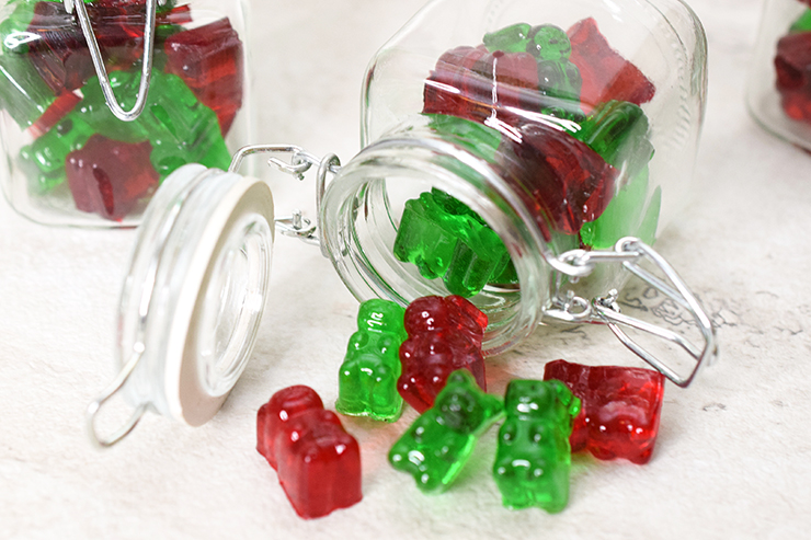 homemade gummy bears with alcohol in glass jars