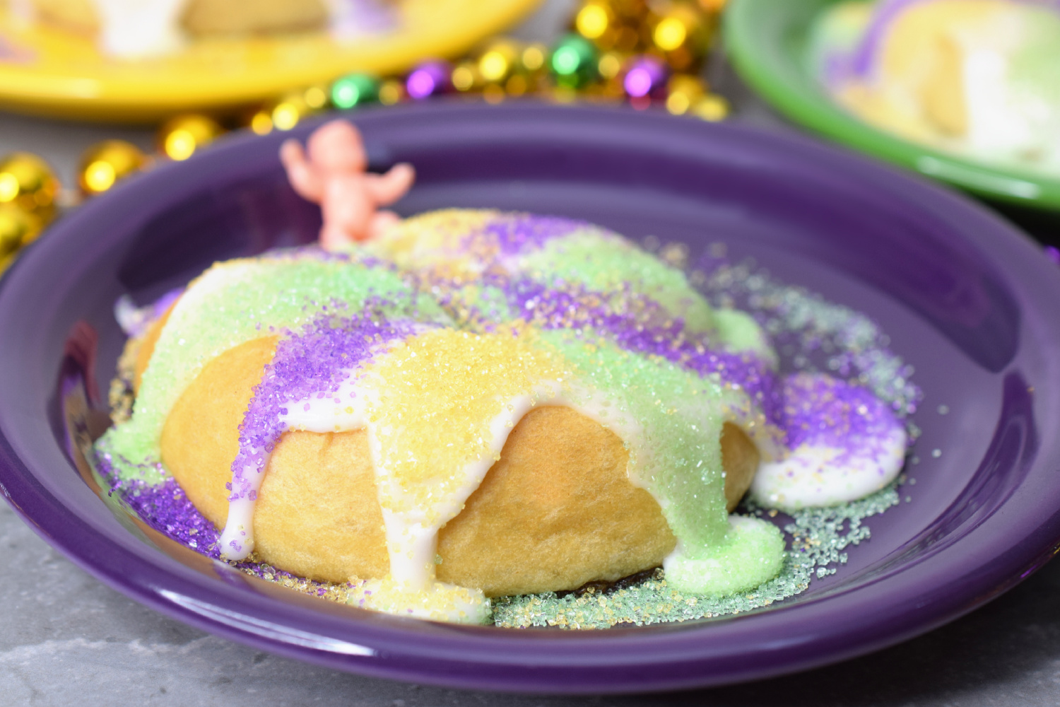 King Cakes made with mini crescent rolls.