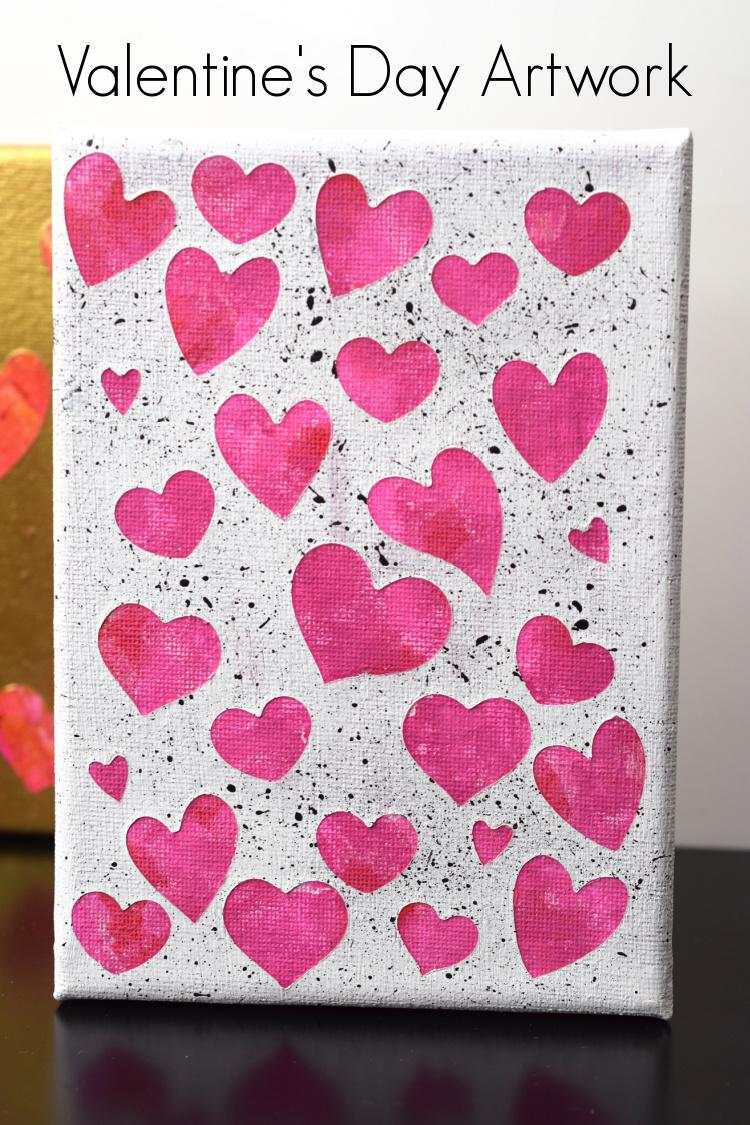 Valentine's Day Artwork, hearts on canvas.