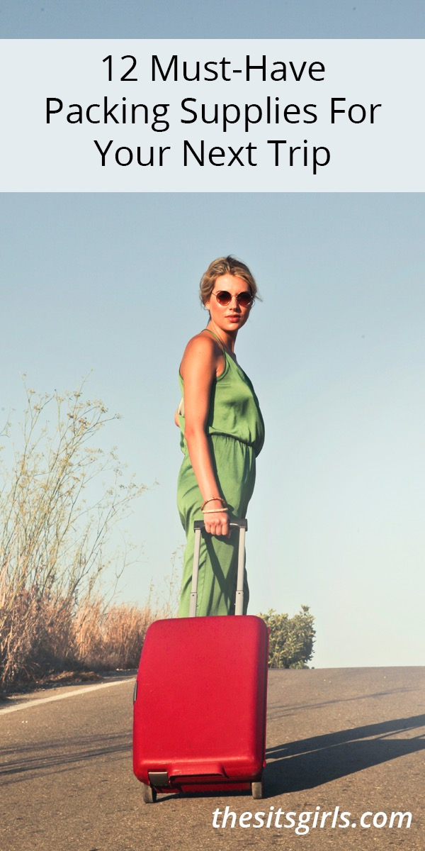 Woman with a red suitcase standing in the road under the words 12 must-have packing supplies for your next trip.