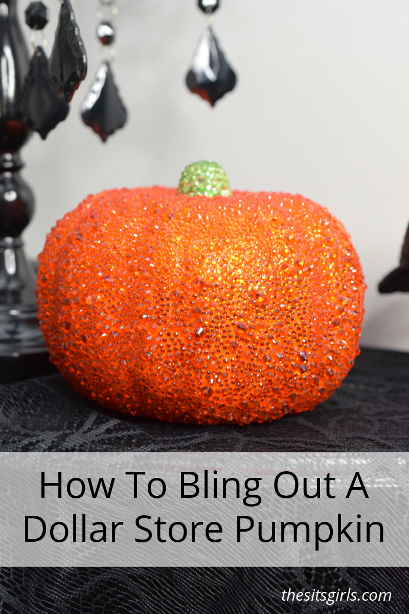 Orange pumpkin with rhinestones and a text overlay that reads how to bling out a dollar store pumpkin.